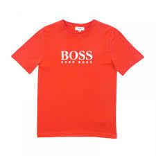 Boos חולצה (8-16שנים)  טישרט חלק כתום סמל באמצע