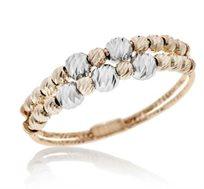 טבעת 14 קרט בשילוב זהב צהוב ולבן
