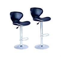 זוג כסאות בר מעוצבים ומרופדים עם מבנה מושב רחב