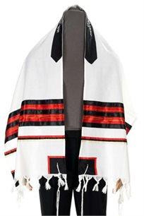 טלית צמר מלווה בתיק וכיפה תואמים לגברים ולבני מצווה בצבע אדום/שחור