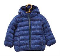 מעיל מרופד עם כובע גדול לילדים בצבע כחול