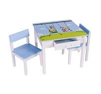 שולחן וכיסאות לילדים עם שתי מגירות עם ציור בהדפסת משי של המאייר גיאצ'וק