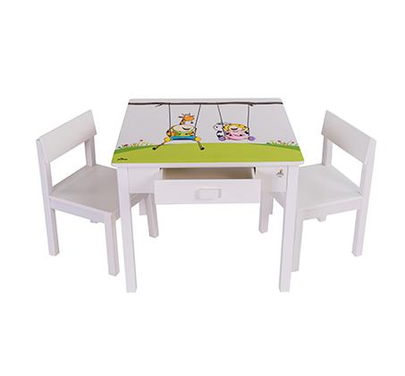שולחן וכיסאות לילדים עם שתי מגירות עם ציור בהדפסת משי - משלוח חינם - תמונה 4