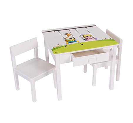 שולחן וכיסאות לילדים עם שתי מגירות עם ציור בהדפסת משי - משלוח חינם - תמונה 3
