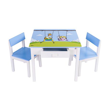 שולחן וכיסאות לילדים עם שתי מגירות עם ציור בהדפסת משי - משלוח חינם - תמונה 2