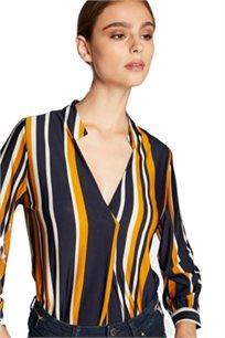 חולצת פסים מכופתרת לאישה בצבעי נייבי/חרדל/לבן