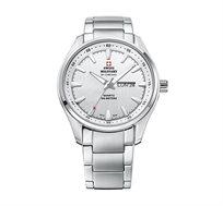 שעון יד שוויצרי לגבר SWISS MILITARY עשוי פלדת אל חלד עמיד במים עד 100M עם מחוגים ושנתות זוהרים