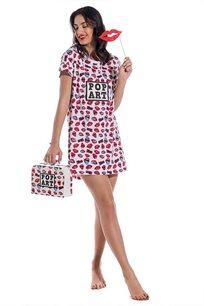 מארז פופ ארט שפתיים לאישה Go Under הכולל כותונת גופיה + תיק מזוודה תואם במתנה בצבע לבן