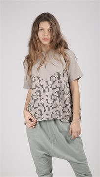 MAYAYA חולצת בנות (2-14 שנים) אפור הדפס פאזל
