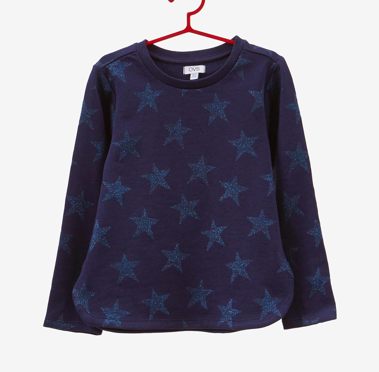 סווטשירט OVS לילדים - כחול כהה עם כוכבים נוצצים