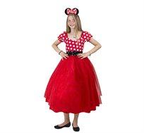 תחפושת פורים לילדות מיני מאוס שמלה ארוכה אדומה שושי זוהר