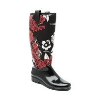 Desigual Rainy Boot - מגף גבוה עד הברך בצבע שחור בדוגמת פרחים אדומים