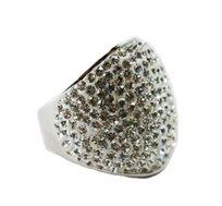 ייחודו של תכשיט! טבעת רודיום משובצת בצורת אליפסה מרשימה ויוקרתית - משלוח חינם!