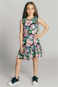 שמלת גופייה טריקו בהדפס פרחוני לילדות Kiwi בצבע שחור/צבעוני