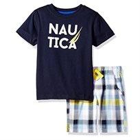 NAUTICA / נאוטיקה 6-0 חודשים)סט חולצת טישרט ומכנס משובץ