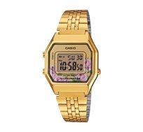 שעון יד דיגיטלי רטרו - זהב פרחוני