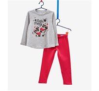 חליפת פוטר OVS לילדות - אפור עם הדפס נוצץ ומכנס אדום