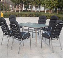 סט ישיבה בגינה CAMPTOWN כולל שולחן ו-6 כיסאות דגם MILANO
