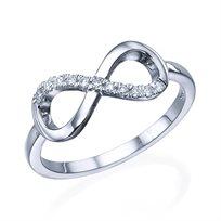 """טבעת יהלומים """"אינפיניטי"""" 0.15 קראט זהב לבן"""