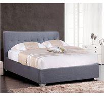 מיטה זוגית מרופדת עם ארגז מצעים מעץ דגם NOAM