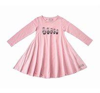 שמלת ג'רזי מסתובבת עם שרוול ארוך - ורוד בשילוב הדפס בבושקות