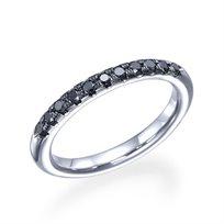 """טבעת אירוסין זהב לבן """"ניקי"""" 0.25 קראט משובצת יהלומים שחורים"""