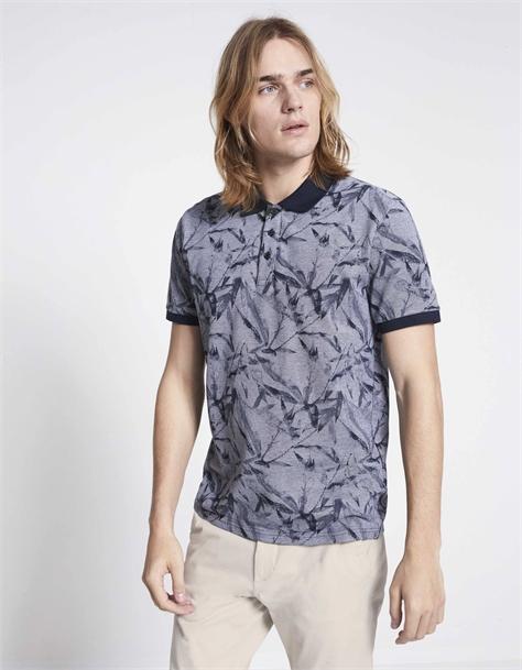 חולצת פולו שרוול קצר בהדפס פרחוני