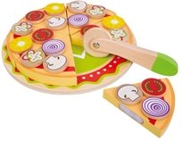 פיצה משפחתית עם מגש, תוספות וסכיך חיתוך 26 חלקים מעץ