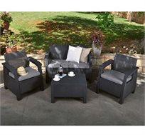 סט ישיבה לגינה המכיל 2 כורסאות יחיד, כורסא זוגית ושולחן אירוח דגם קורפו כתר