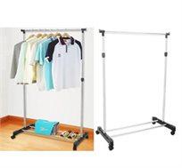 שומר על הסדר בחדר השינה! מתלה בגדים נייד עם גלגלים, עשוי מתכת, קל משקל וכולל מדף תחתון לנעליים
