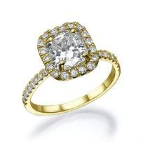 """טבעת יהלום זהב צהוב בחיתוך """"קושיין"""" 1.51 קראט"""
