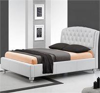 מיטה זוגית GAROX עשויה עור עם גב מיטה גבוה ומעוצב