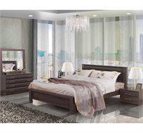 חדר שינה קומפלט עשוי עץ דגם רומה הכולל מיטה זוגית, שתי שידות, קומודה ומראה