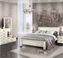 חדר שינה קומפלט עשוי עץ דגם סהר הכולל מיטה זוגית, שתי שידות תואמות, קומודה ומראה