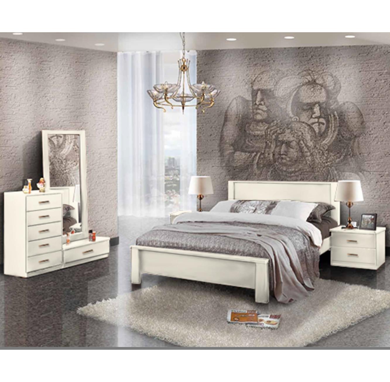 סט ריהוט לחדר השינה עם מיטה שידות ומראה דגם סהר