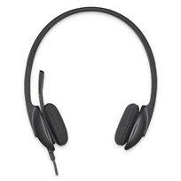 אוזניות עם מיקרופון חוטי USB Headset H340 מבית Logitech - משלוח חינם