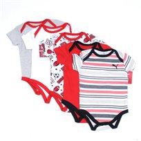 Puma / פומה סט חמישיית בגדי גוף - אדום לבן (0 - 9 חודשים)