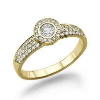 טבעת אירוסין זהב צהוב בריטני 0.71 בשיבוץ כתר יהלומים נוצץ