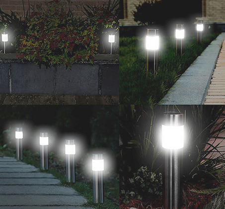 סט 5 פנסי LED סולארים גדולים מנירוסטה מבית MiniMaxx - תמונה 3