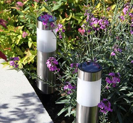 סט 5 פנסי LED סולארים גדולים מנירוסטה מבית MiniMaxx - תמונה 2