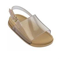 Mini Melissa סנדל שטוח (מידות 29-19) - שקוף נצנץ זהב