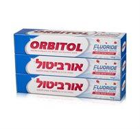 4 מארזי משחות שיניים אורביטול שלישייה עם פלואוריד וסודה להלבנה
