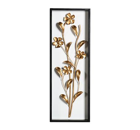 קישוט קיר מתכתי עם מסגרת בצורת פרחים מוזהבים