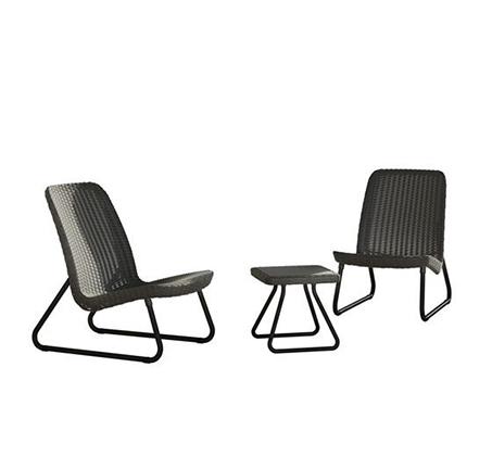 סט רהיטים למרפסת ולגן הכולל כיסאות במראה עץ קלוע ושולחן תואם דגם ריו KETER - תמונה 4