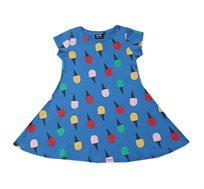 שמלה מסתובבת הדפס גלידות - כחול/צבעוני