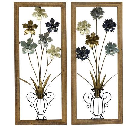 קישוט קיר זוגי מתכתי עם מסגרת בצורת כד פרחים