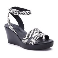 Crocs Leigh Graphic Wedge - נעלי עקב קרוקס לנשים בהדפס אופנתי בצבע שחור