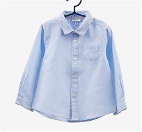 חולצת אריג פסים עם שרוולים ארוכים מכופתרת בצבע תכלת