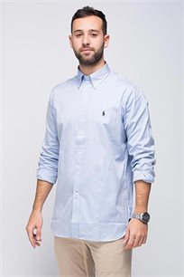 חולצה מכופתרת תכלת לוגו כחול POLO RALPH LAUREN