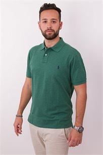 חולצת פולו ירוקה CUSTOM FIT לוגו כחול POLO RALPH LAUREN
